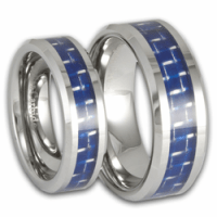 His and Her Tungsten and Blue Carbon Fiber Wedding Ring ...