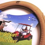 New Leather Perfect Fit Beige Golf Cart Steering Wheel Cover