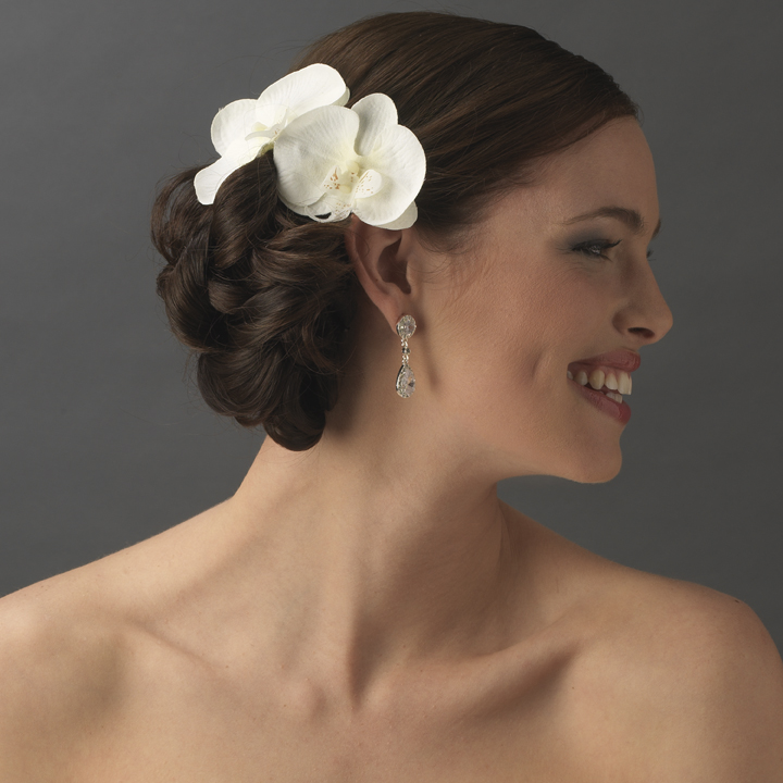 natural looking twin orchid bridal flower hair clip clip 405 discontinued