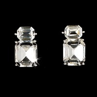 Silver Clear Emerald Cut Crystal Necklace & Earrings ...