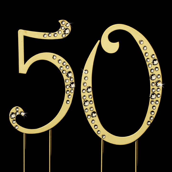 50th Crystal Anniversary or Birthday Cake Tops  Wholesale Cake Jewelry