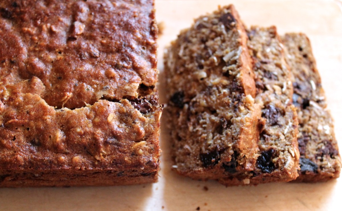 loaded chocolate chip banana bread
