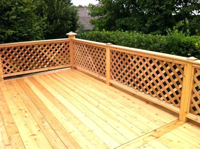 wood latice railing deck