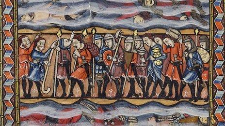 Rylands Haggadah - Crossing the Red Sea