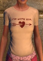 """I'm with Him"" left logo tee, pink"