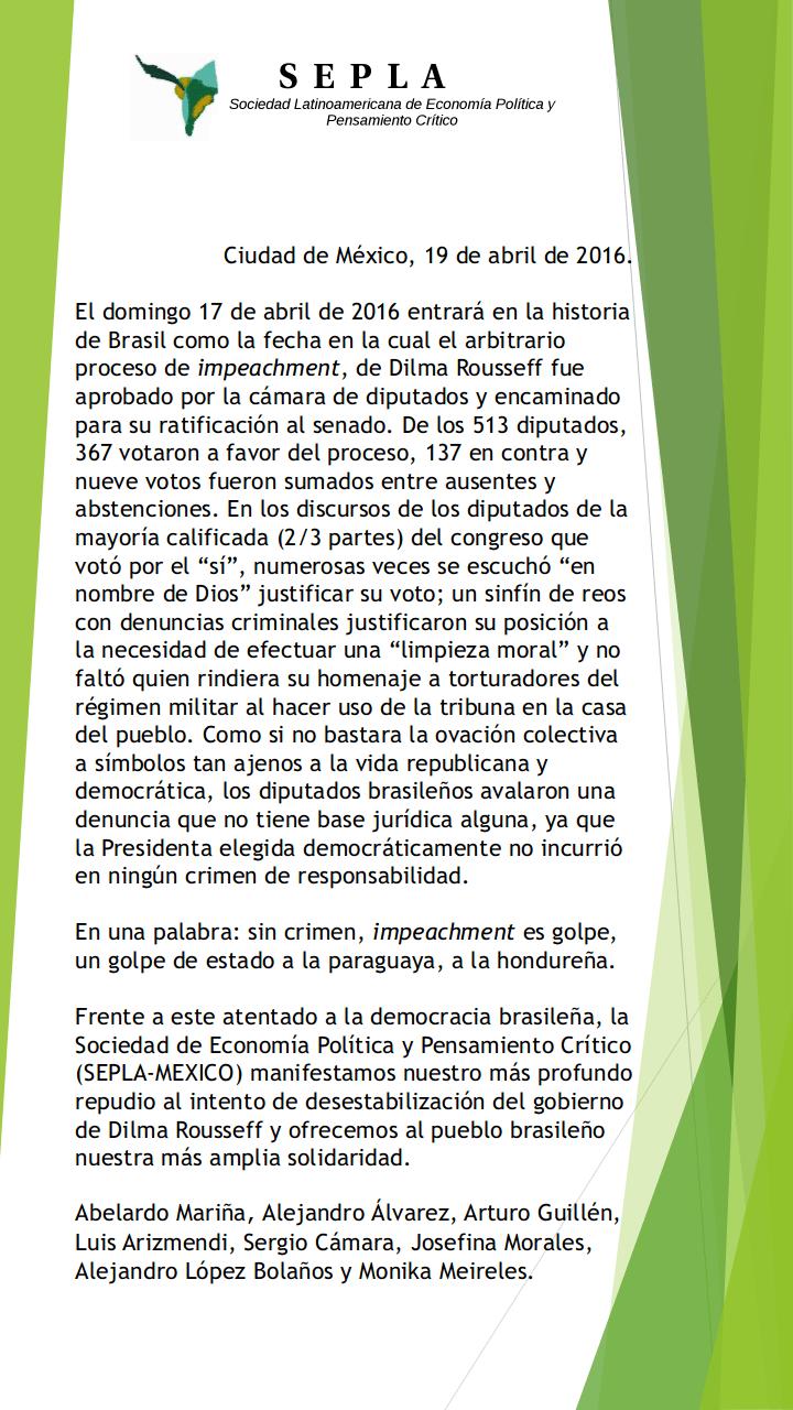 SEPLA-Mexico Pronunciamento contra el golpe en Brasil
