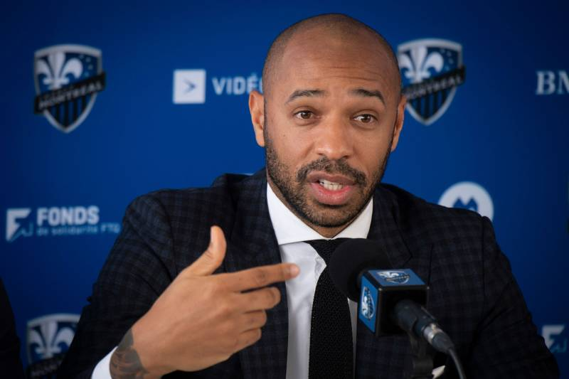 Thierry Henry speaks as The Montreal Impact invites members of the media to meet the new head coach at a press conference at the Centre Nutrilait, in Montreal, Quebec, Canada, on November 18, 2019. (Photo by Sebastien ST-JEAN / AFP) (Photo by SEBASTIEN ST-JEAN/AFP via Getty Images)