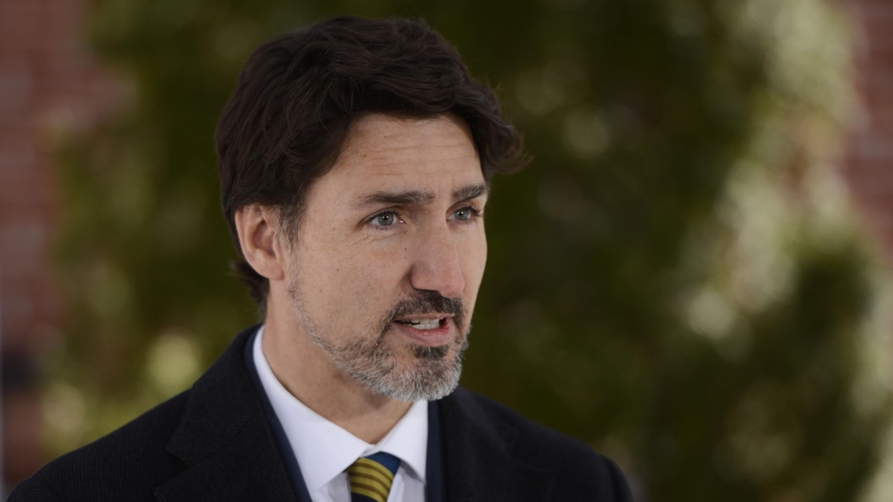 Le premier ministre Justin Trudeau durant un point de presse.