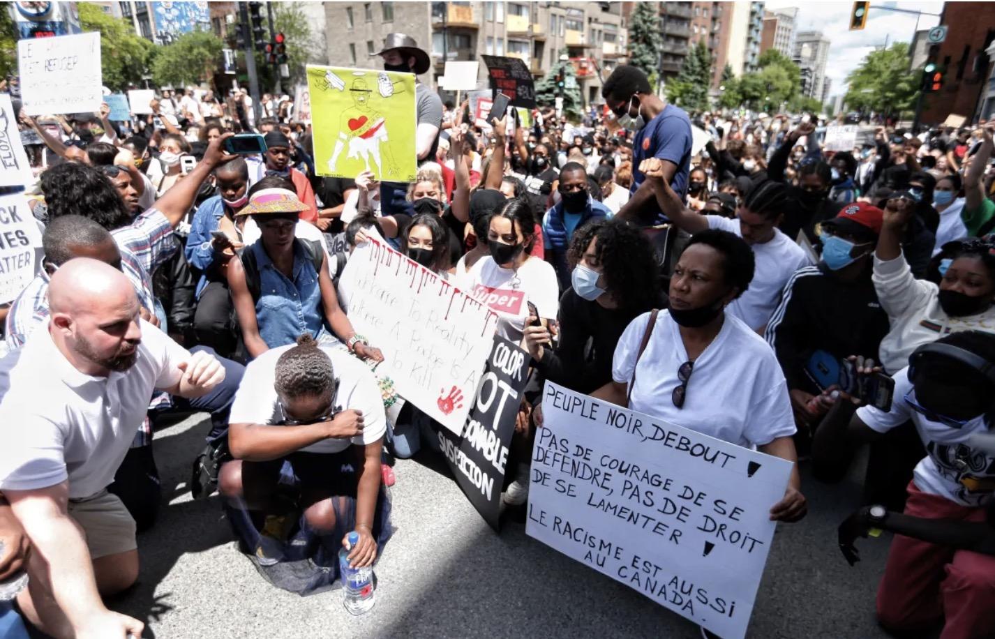 蒙特利尔周日群众大游行反种族歧视与警察暴力
