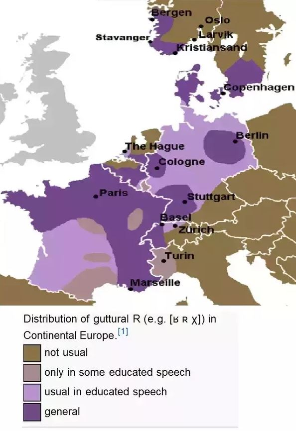 Carte de distribution du R guttural en Europe