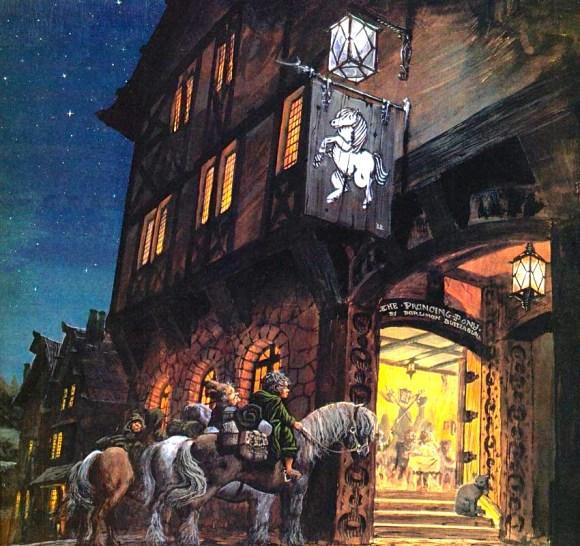 Illustration de l'auberge du Poney Fringant du Seigneur des Anneaux