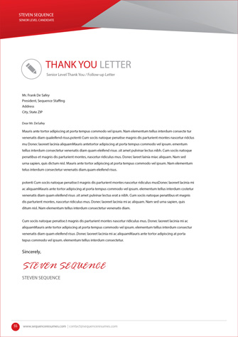 Follow Up Thank You Letter – Senior Executive Level