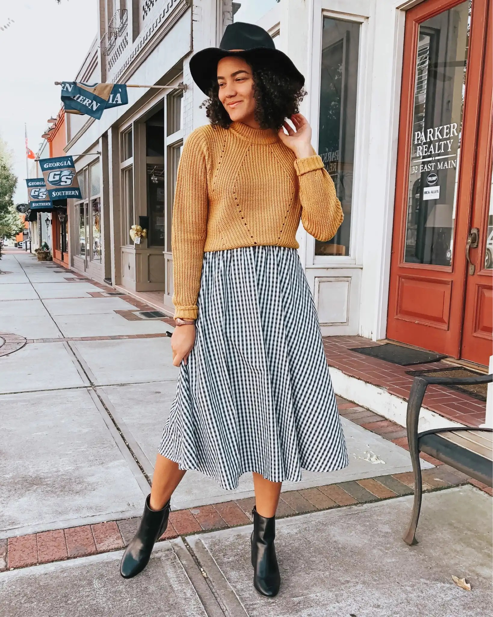 gingham-skirt-entourage-winter-style-review