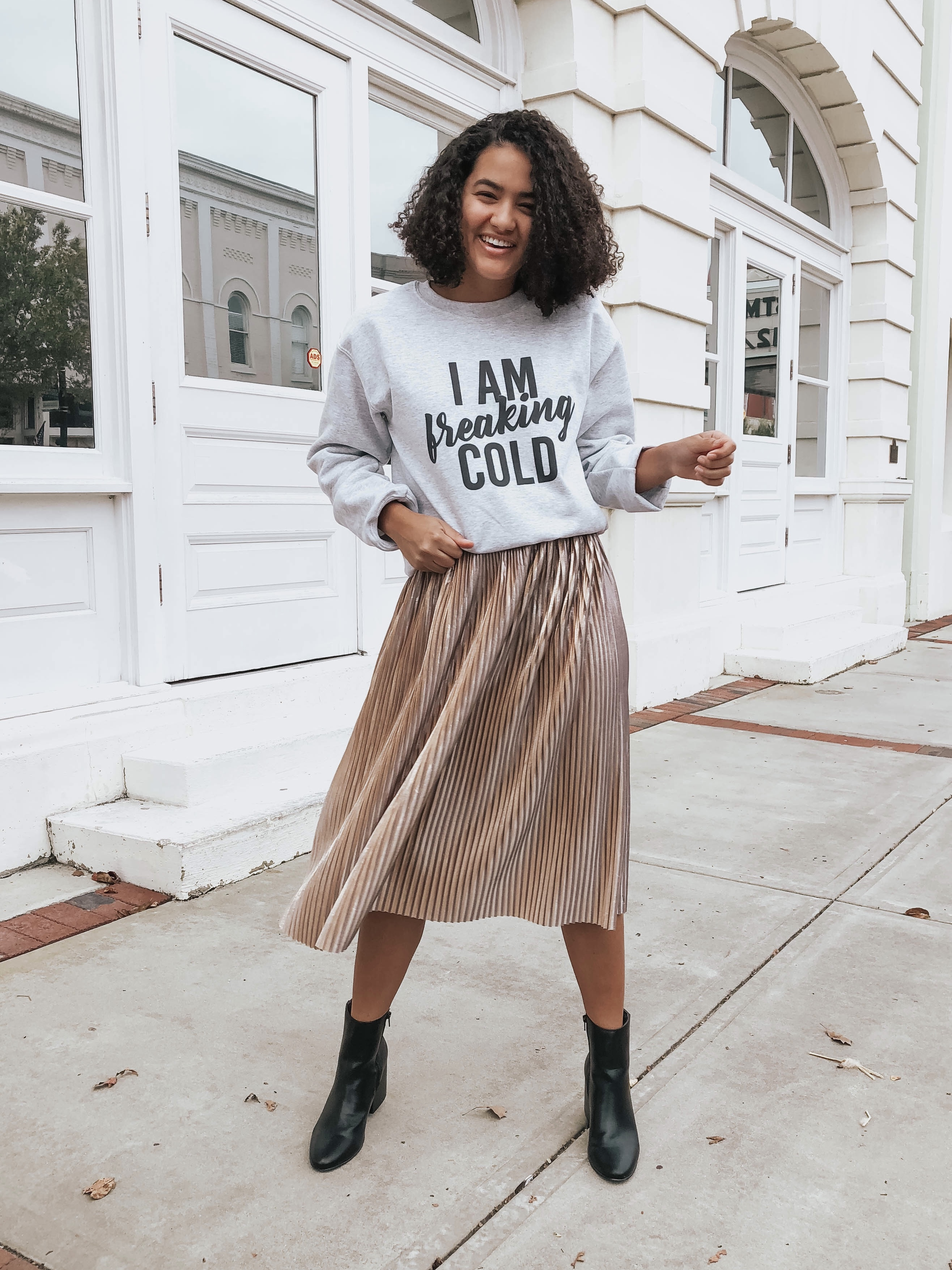 sweatshirt-and-shimmer-skirt-four-easy-looks-perfect-for-thanksgiving