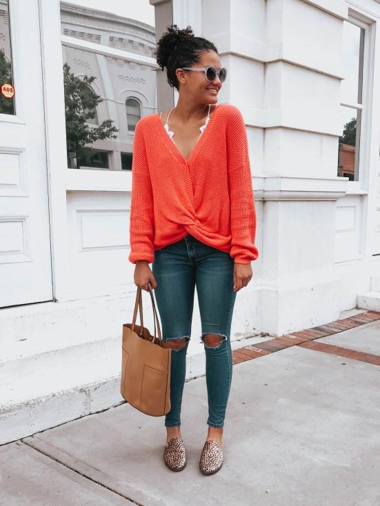 orange-sweater-leopard-flats-twenty-winter-outfit-ideas