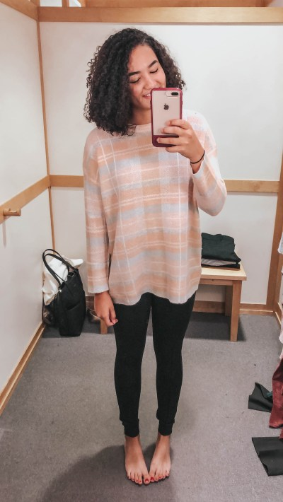 pink-plaid-sweater-gray-leggings-loft