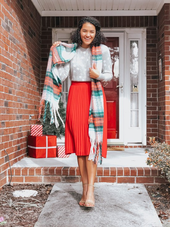red-skirt-plaid-scarf-twenty-winter-outfit-ideas