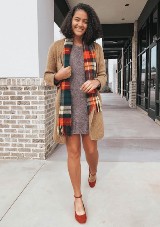 sweater-dress-plaid-scarf-twenty-winter-outfit-ideas