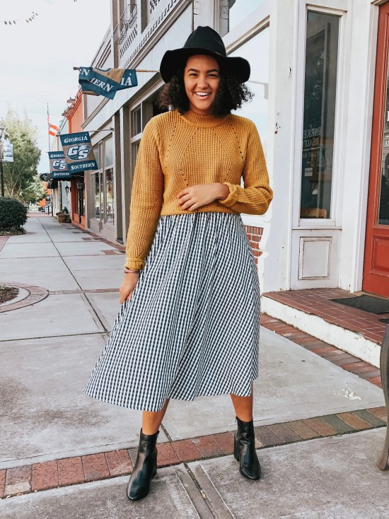 yellow-sweater-gingham-skirt-twenty-winter-outfit-ideas