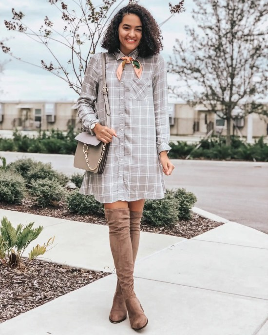 Plaid Dress Over the Knee Boots Fourteen Spring and Summer Handbags Under Fifty Dollars