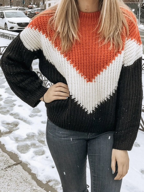 Orange, Black, and White Chevron Sweater