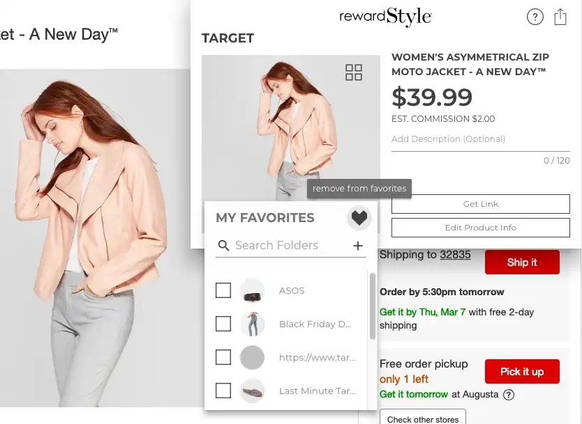 Adding Items to Favorites on RewardStyle Post
