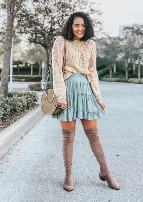 Yellow Sweater, Blue Tiered Skirt, Taupe Over the Knee Boots