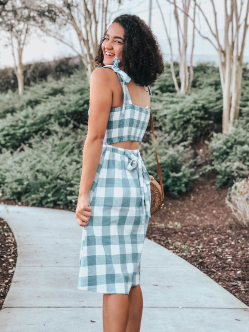 Gingham Midi Dress and Brown Sandals