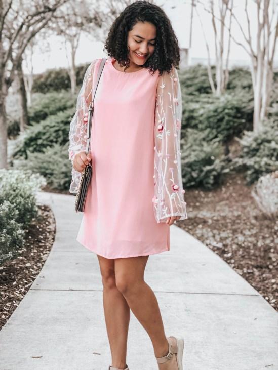 Pink Shift Dress with 3D Embellished Sleeves and Flatform Espadrille Sandals