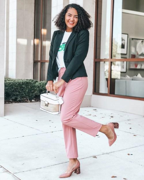 Black Blazer, Pink Dress Pants, Pink Sequin heels, and a tee shirt.