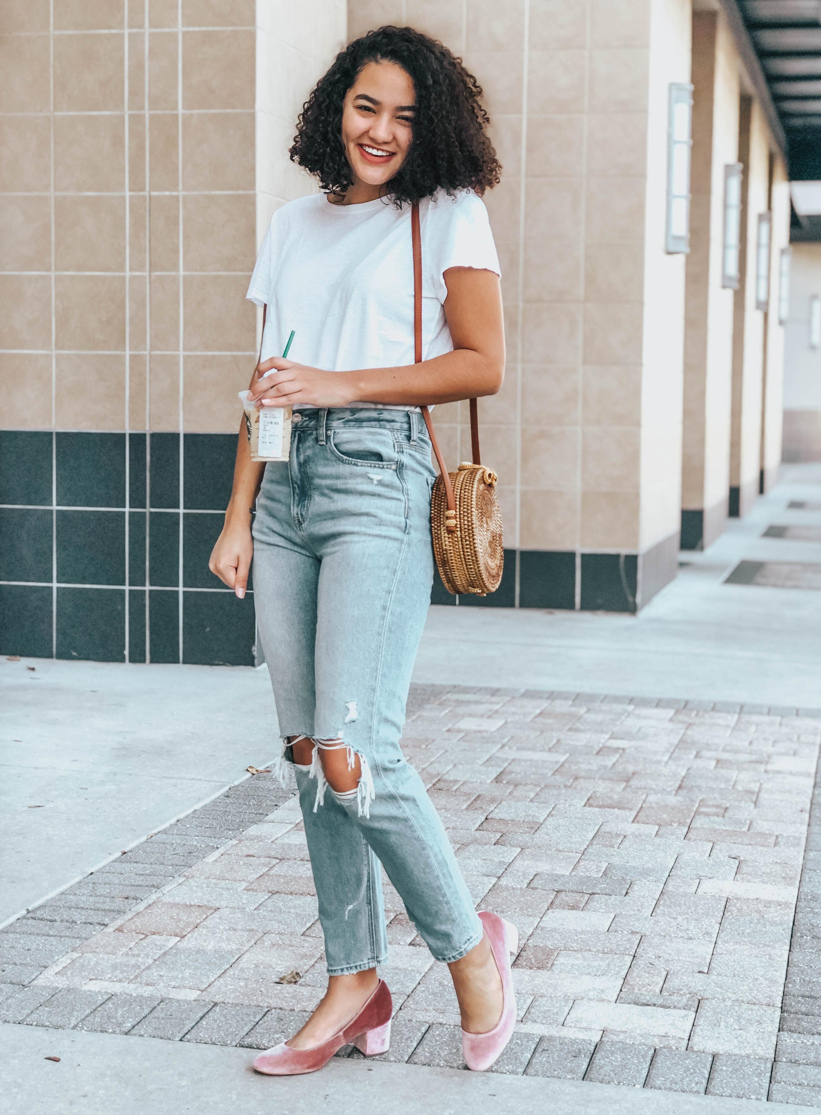 Mom Jeans, Plain White Tee, Pink Velvet Block Heels, Round Rattan Bag