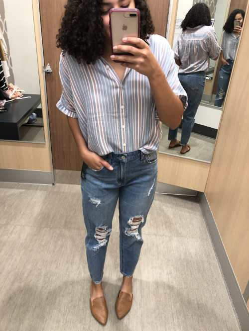 Striped Shirt and Distressed Mom Jeans Target Try-On Haul