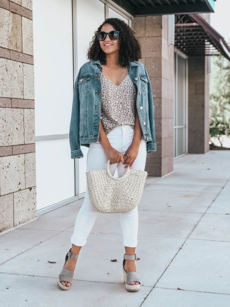 Jean Jacket, White Jeans, Gray Espadrille Wedges, Woven Bag, and Leopard Print Tank