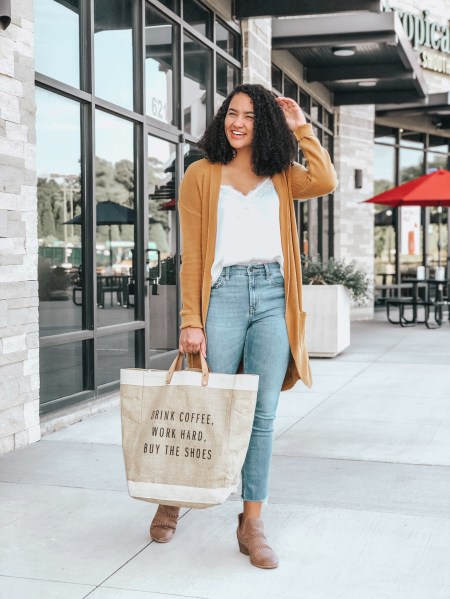 Cocoon Cardigan from Nordstrom, White Lace Cami from Nordstrom, Raw Hem Jeans Old Navy, Brown Booties from Target, Tote Bag from Apolis