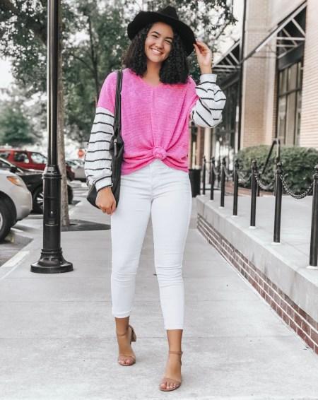 Pink Stripe Sleeved Sweater, White Jeans, Beige Block Heels, Black Fedora