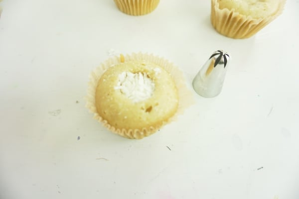 cupcake well filled with coconut flakes and icing tip sitting nearby