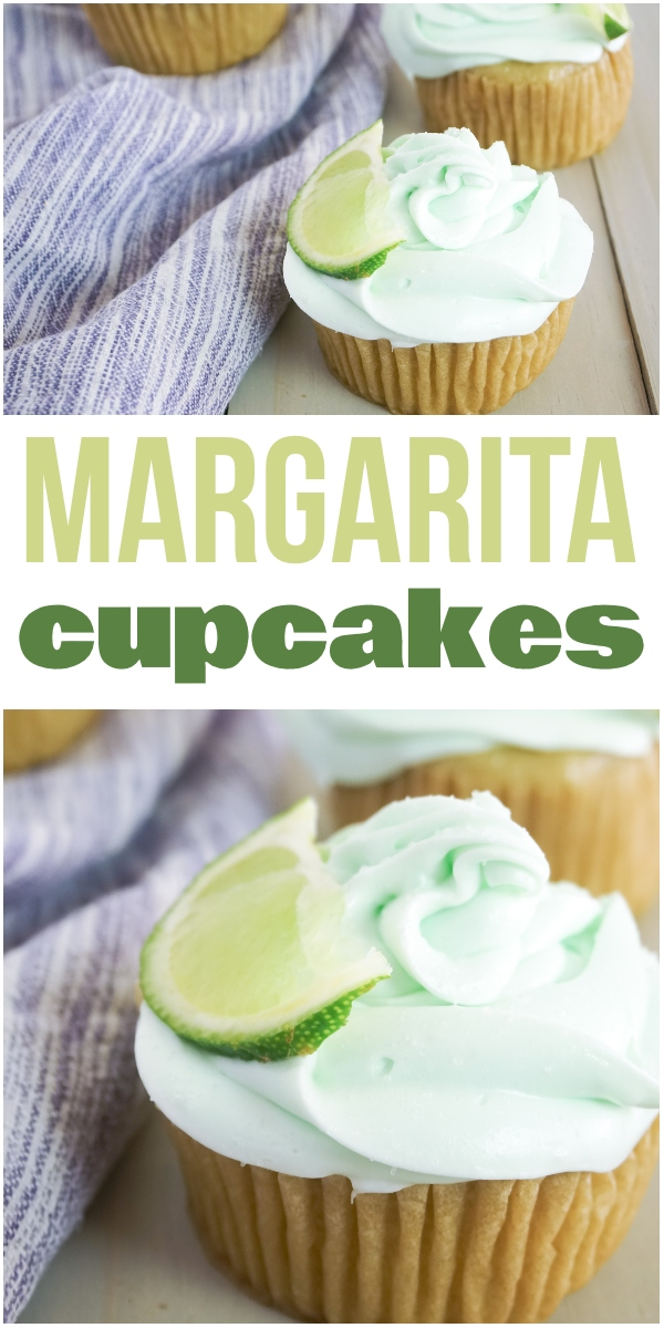 photo collage of tequila-infused margarita cupcakes with text which reads margarita cupcakes