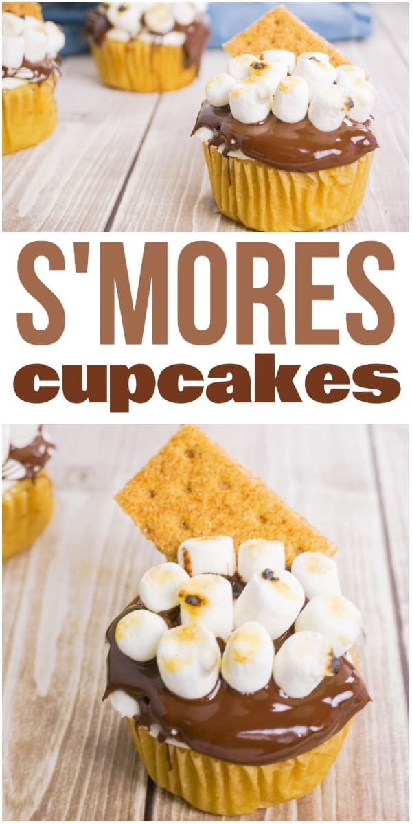 photo collage of campfire cupcakes with text which reads s'mroes cupcakes