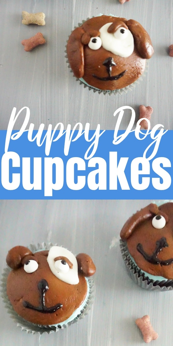 a collage of cupcakes topped with brown, white and block frosting to look like the face of a dog next to dog bone treats on a table with title text reading Puppy Dog Cupcakes