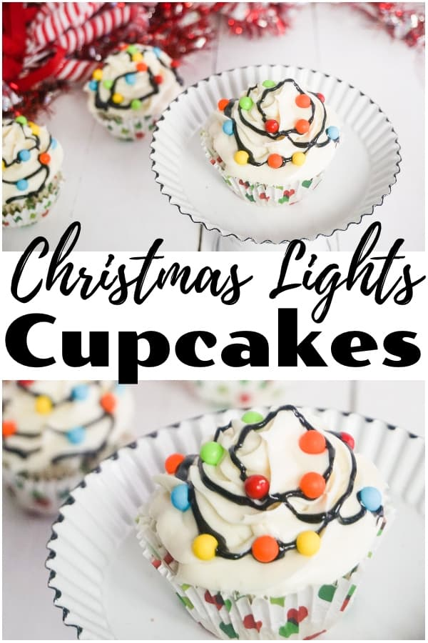 a collage of cupcake topped with white frosting, multi-colored candy balls with black frosting in between to look like Christmas lights on a cake plate with another cupcake and candy canes in the background with title text reading Christmas Lights Cupcakes