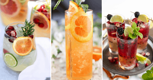 three pictures of three different cocktails in glasses