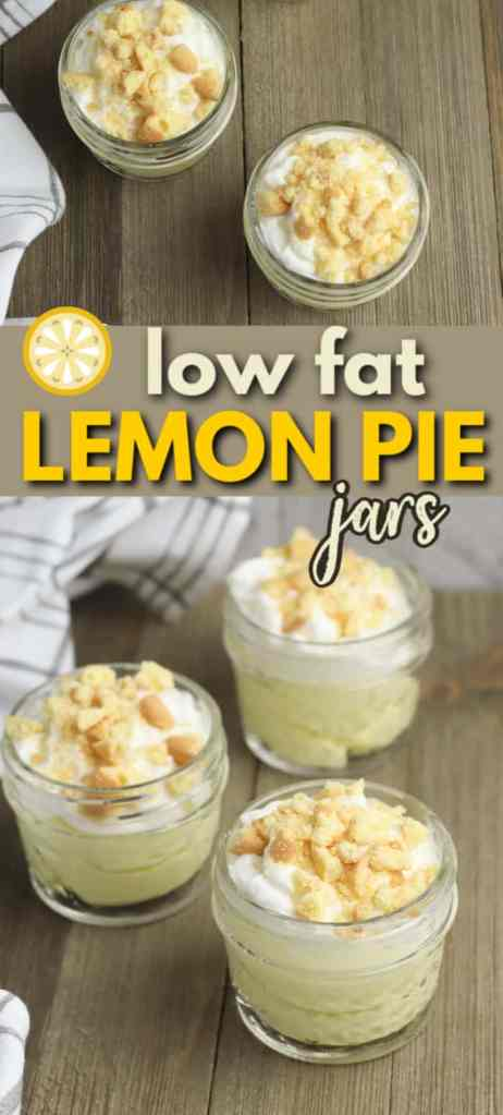 three Low-Fat Lemon Pie Jars on a brown table with title text reading Low Fat Lemon Pie Jars