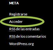 Acceder a la parte administrativa del sitio web