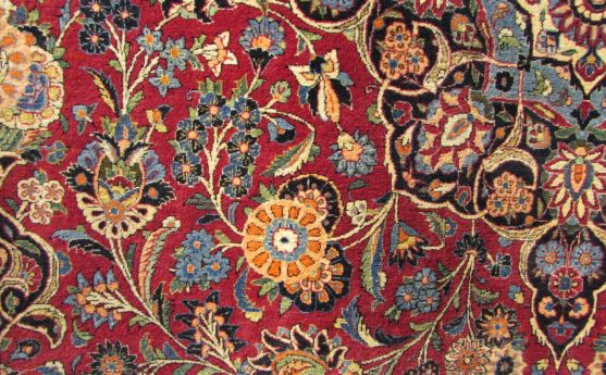 The spanning tendrils in Kashan rugs are known as Islimi.
