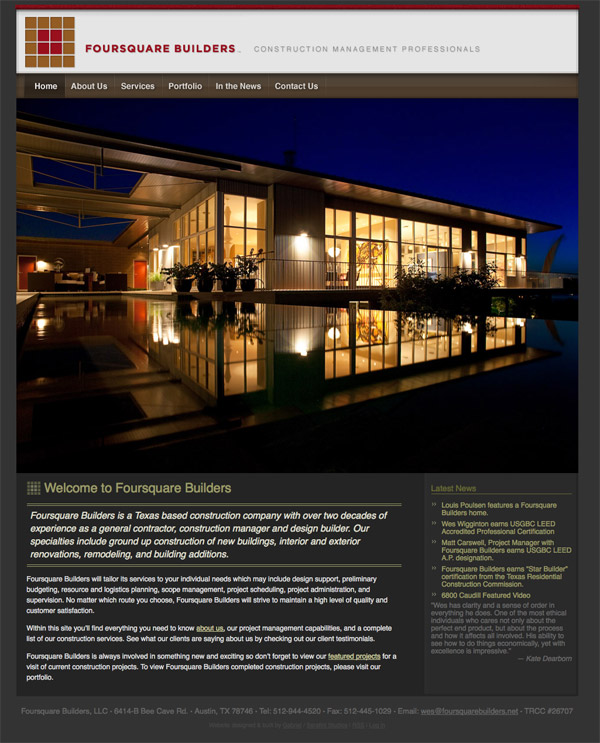 Foursquare Builders homepage