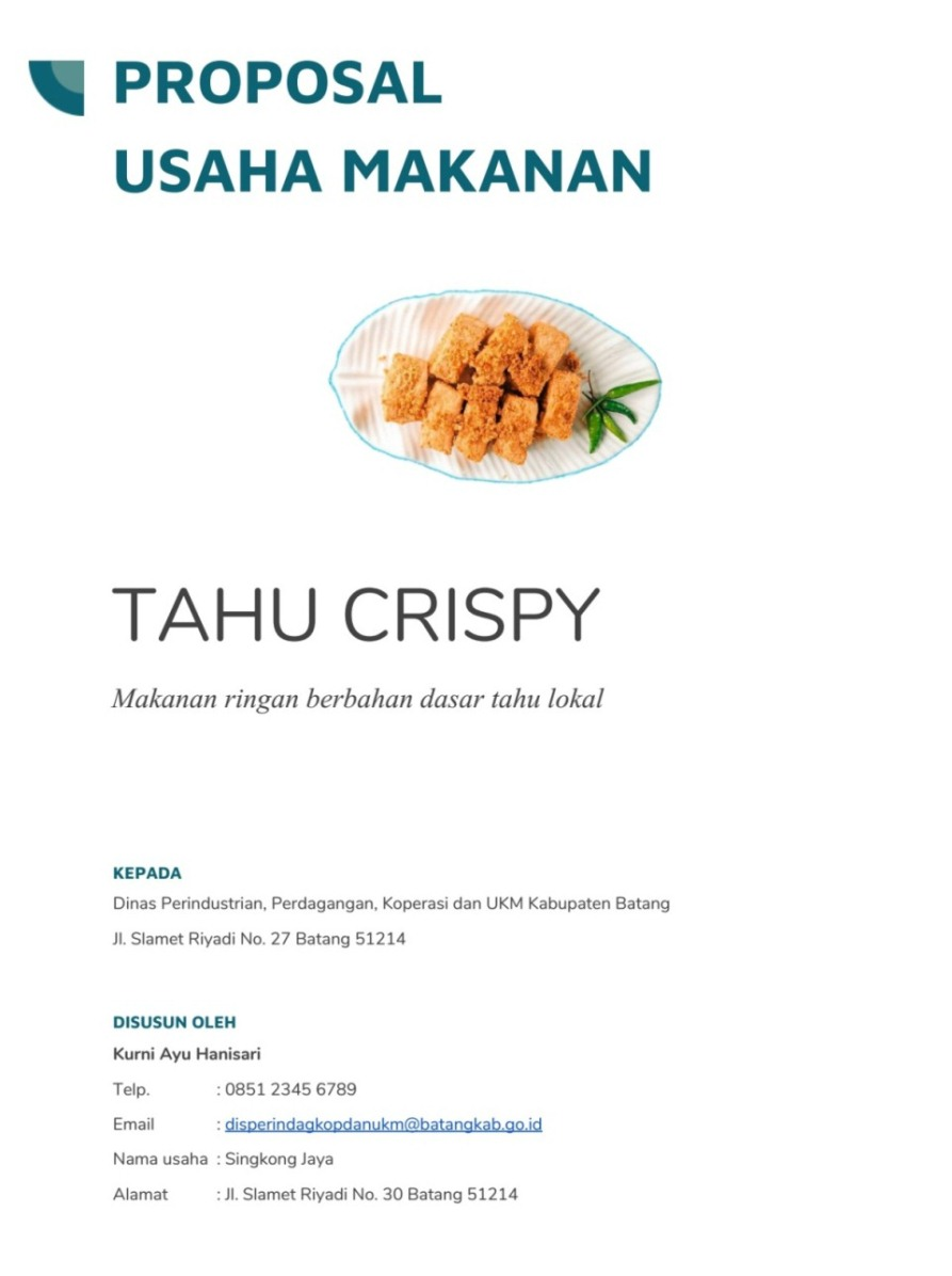 Contoh Proposal Dan Usaha Makanan