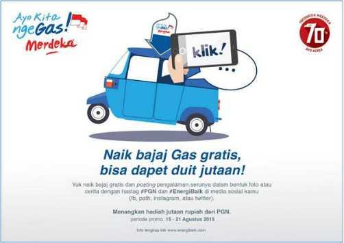Kuis Share Naik Bajaj Gas Gratis Berhadiah Uang Jutaan