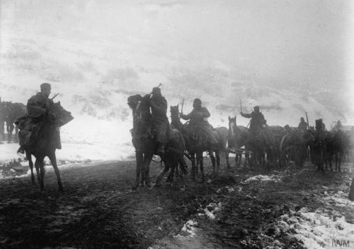 Српска артиљерија у Албанији током повлачења ка Јадранском мору.