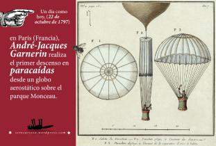 22 de octubre de 1797: en París (Francia), André-Jacques Garnerin realiza el primer descenso en paracaídas desde un globo aerostático sobre el parque Monceau.