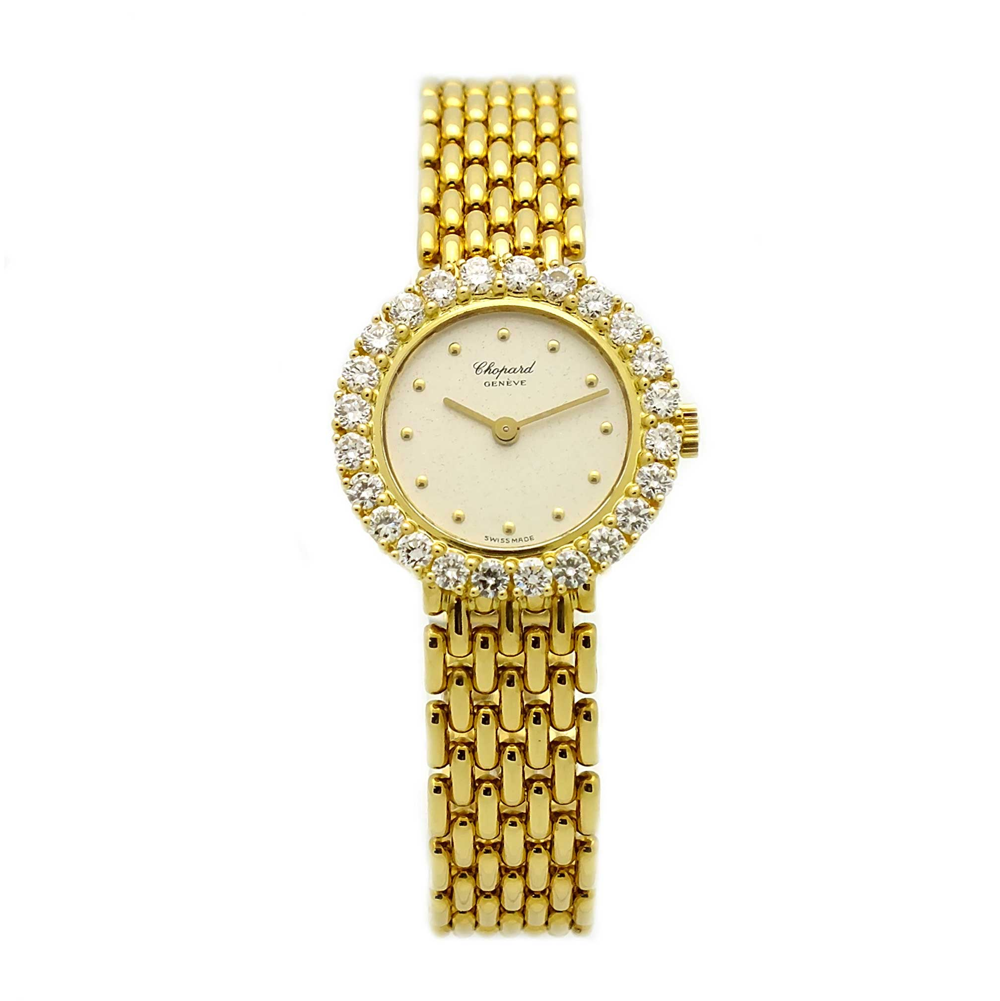Vintage ladies Chopard watch in 18kt yellow gold with diamond bezel